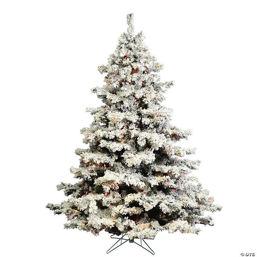 Vickerman 4 5 Flocked Alaskan Pine Christmas Tree With Lights