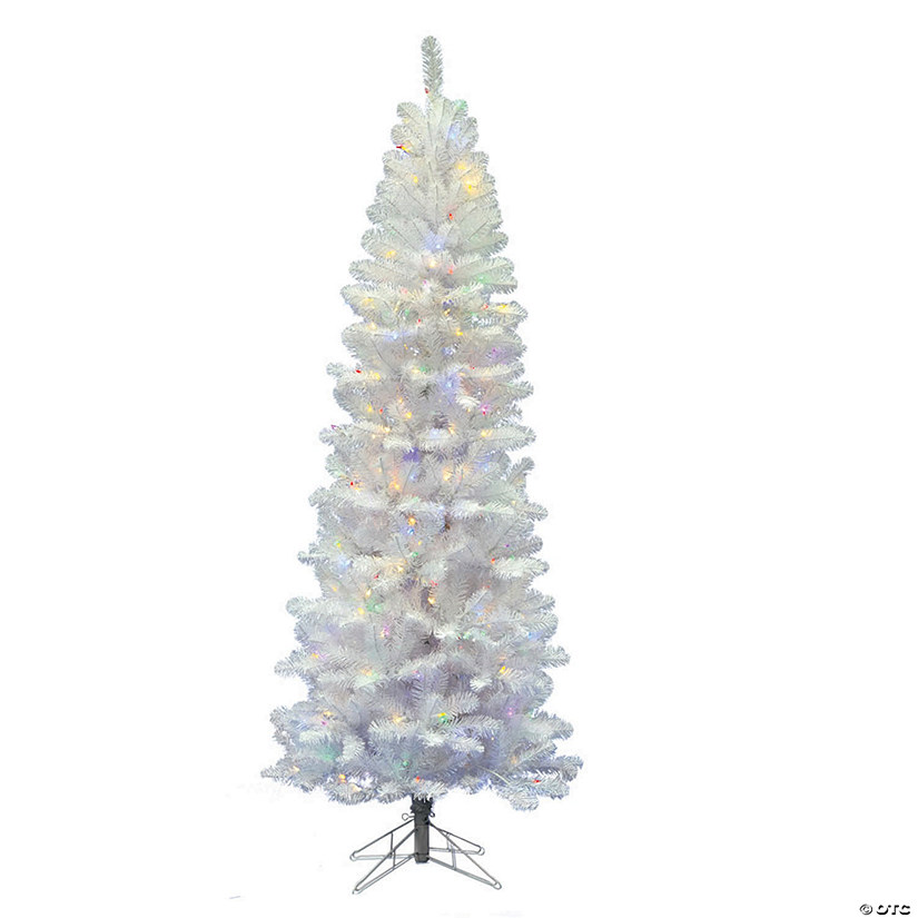 Vickerman 5 5 White Salem Pencil Pine Christmas Tree With Multi Colored Led Lights