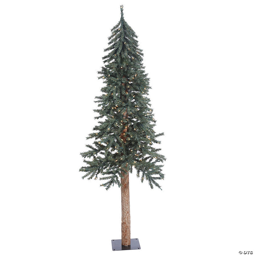 Artificial Christmas Tree With Lights.Vickerman 6 Natural Bark Alpine Christmas Tree With Clear Lights