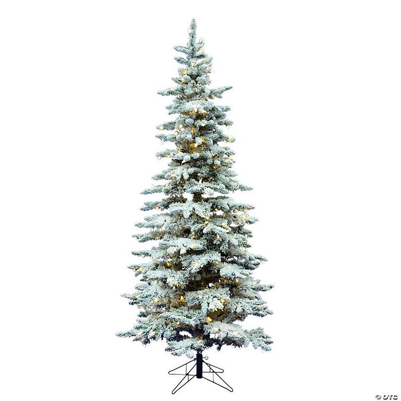 Slim Flocked Christmas Tree With Lights.Vickerman 6 5 Flocked Utica Fir Slim Christmas Tree With Warm White Led Lights