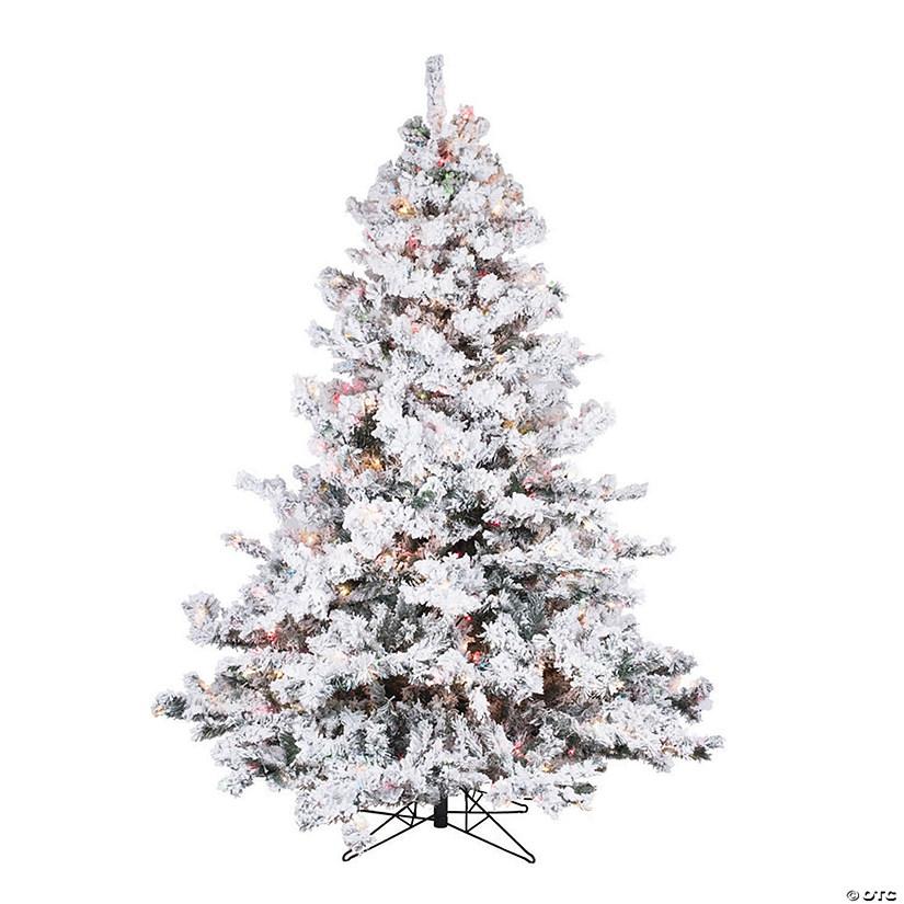 Vickerman 6 5 Flocked Alaskan Pine Christmas Tree With Multi Lights