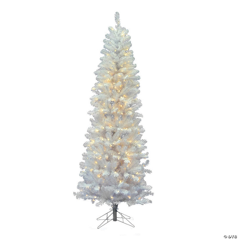 Vickerman 7 5 White Salem Pencil Pine Christmas Tree With Warm White Led Lights