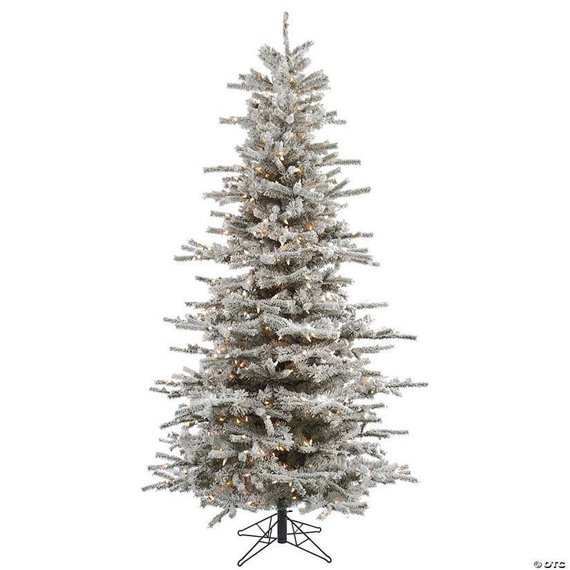 Slim Flocked Christmas Tree With Lights.Vickerman 7 5 Flocked Sierra Fir Slim Christmas Tree With Clear Lights