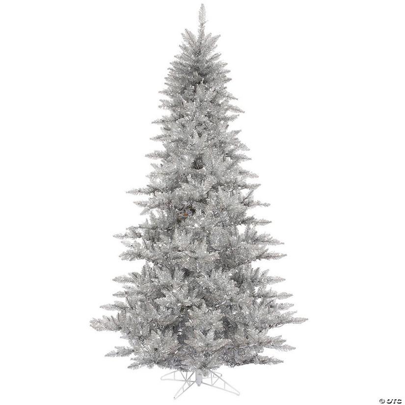 Christmas Tree Tinsel.Vickerman 7 5 Silver Tinsel Fir Christmas Tree Unlit