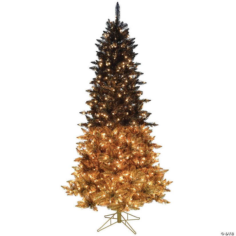 Vickerman 9 X 57 Black Gold Christmas Tree With Warm White Led Lights