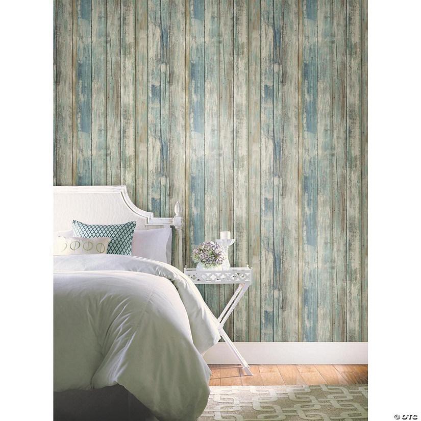 Distressed Wood Blue Peel & Stick Wallpaper   Oriental Trading