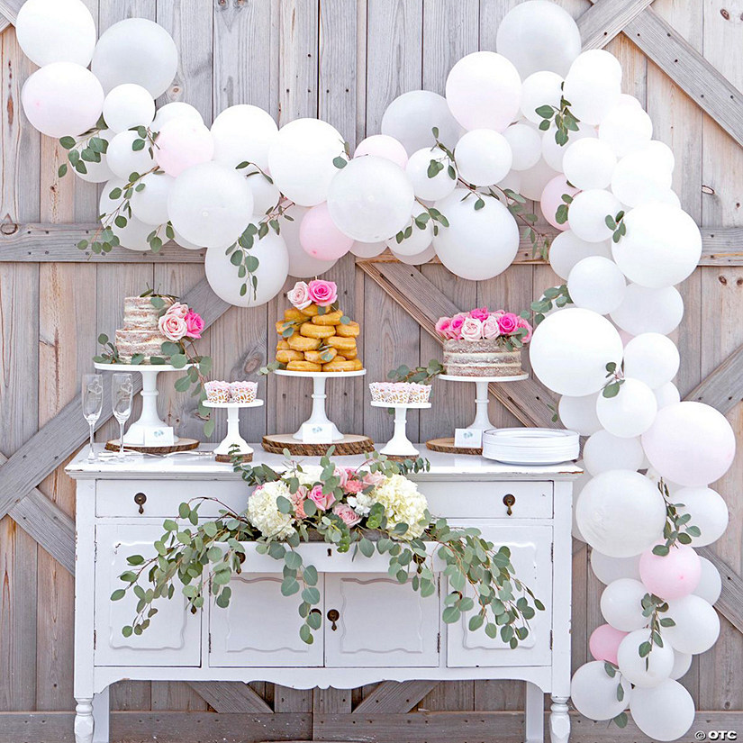 White Pink Balloon Eucalyptus Garland Kit 25 Ft