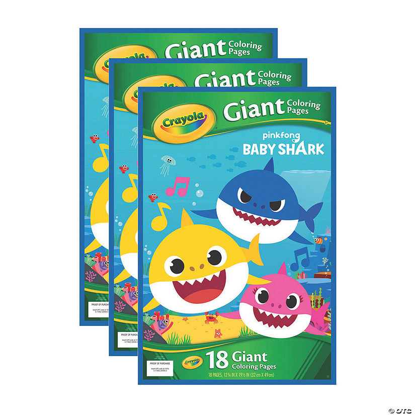 Crayola Giant Coloring Pages, Baby Shark, Pack of 3