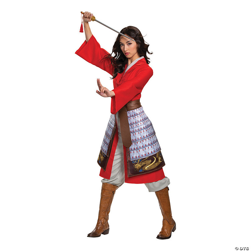 Women S Deluxe Mulan Hero Red Dress Costume Oriental Trading