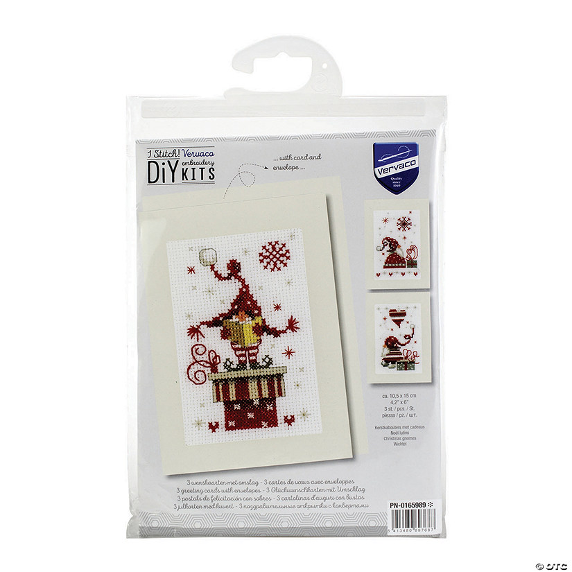 "Vervaco CHRISTMAS GNOMES Large Count Cross Stitch Kit  16/"" Hand Painted Canvas"