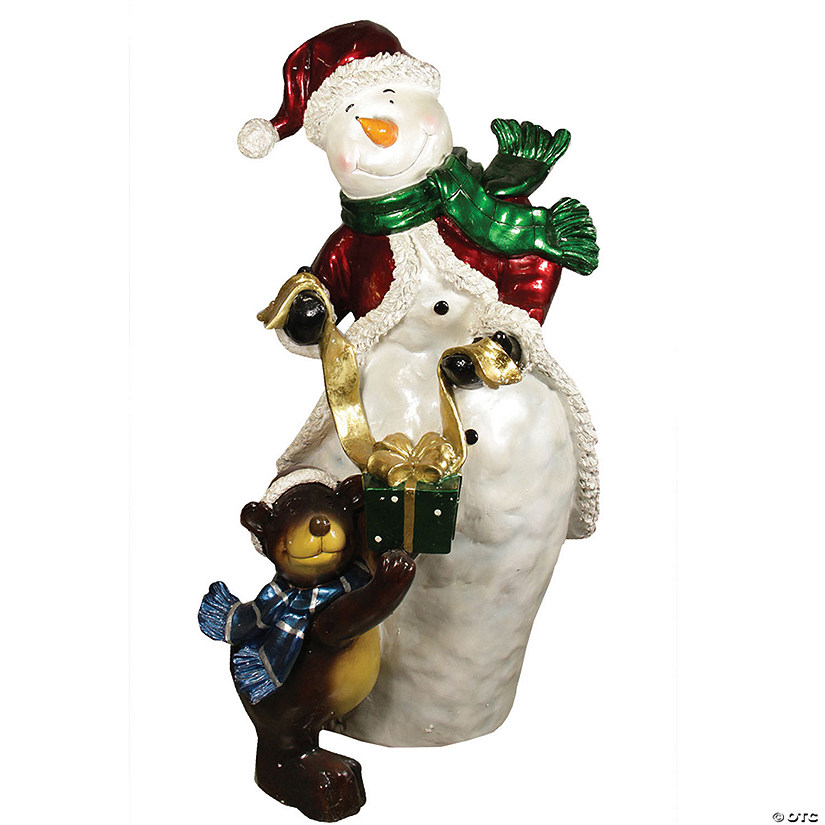 Christmas Central 48 White And Brown Snowman With Bear Christmas Display Outdoor Decoration