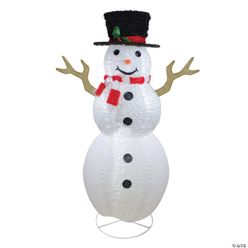 Northlight 6 Pre Lit Chenille Swirl Large Snowman With Top Hat Christmas Outdoor Decoration Oriental Trading