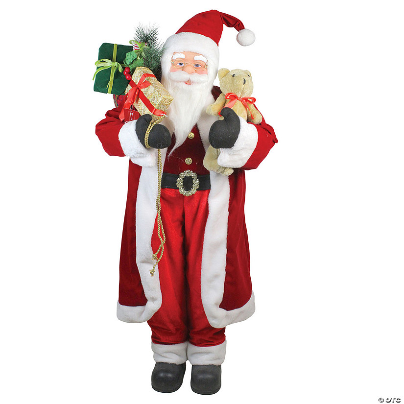 Northlight 4 Standing Santa Claus Christmas Figure With Teddy Bear And Gift Sack