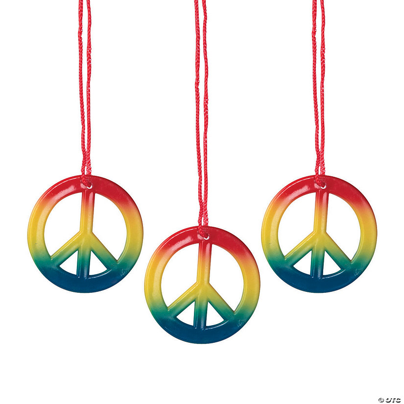 c164f388f Rainbow Peace Sign Necklaces