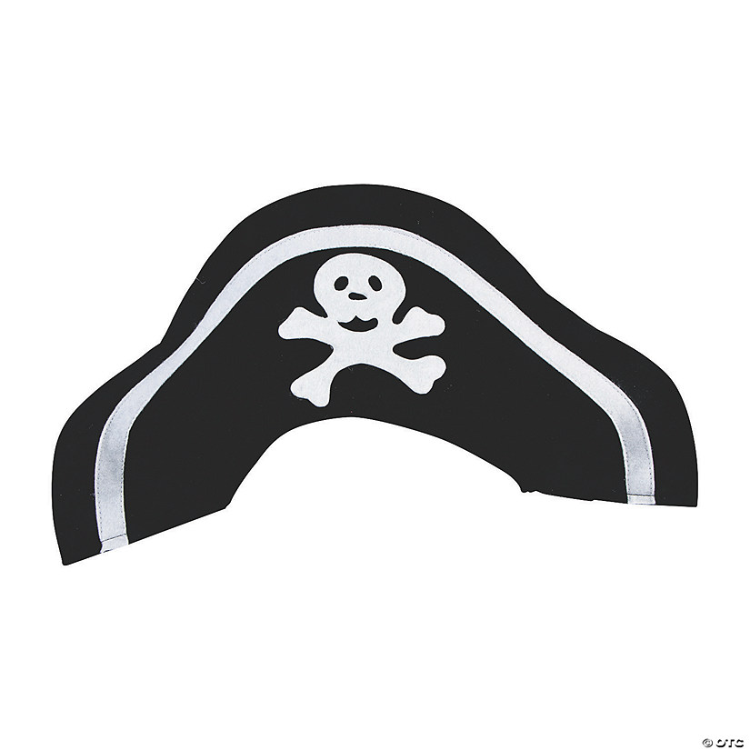 30 Black Card Pirate Hats /& Patches Kit for Kids Crafts /& Parties