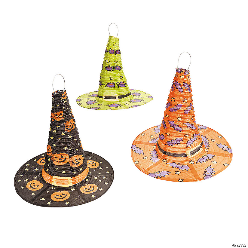 Witch Hat Hanging Paper Lanterns Halloween Decorations
