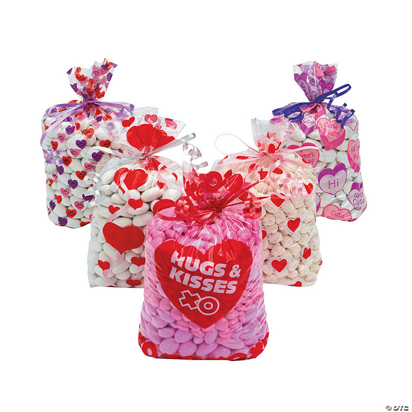 Happy Valentine/'s Day Hearts Holiday Party Favor Bags Small Cello Treat Sacks