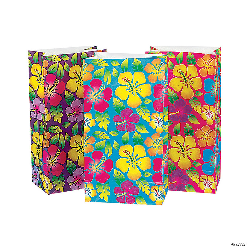 Tropical Hibiscus Treat Bags Oriental Trading