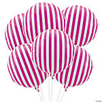 Hot Pink Striped Mylar Balloons