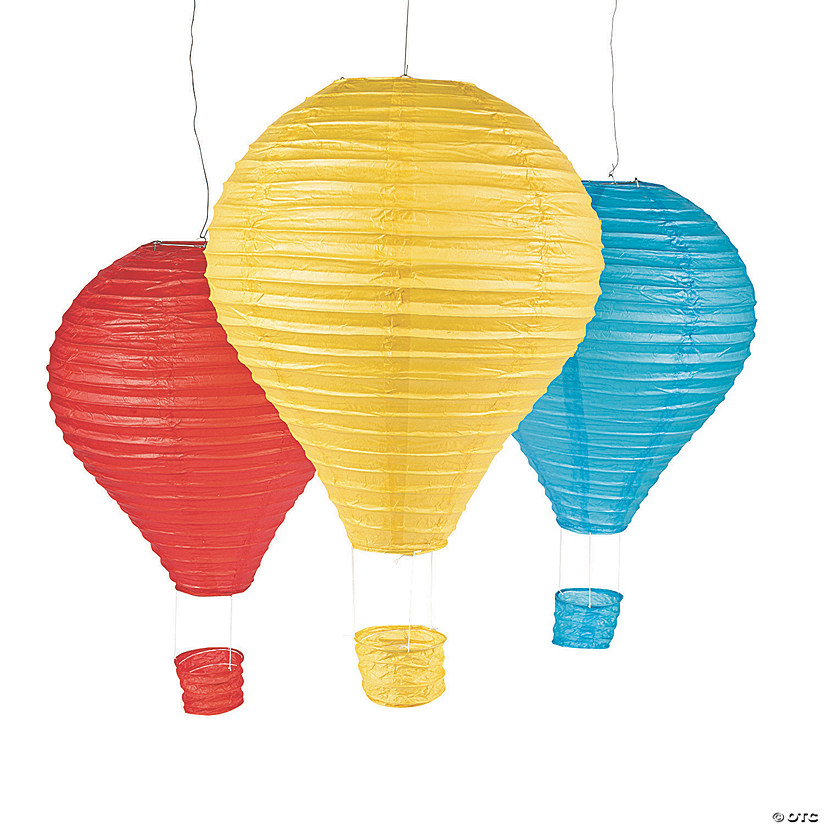 Hot Air Balloon Hanging Paper Lantern Set