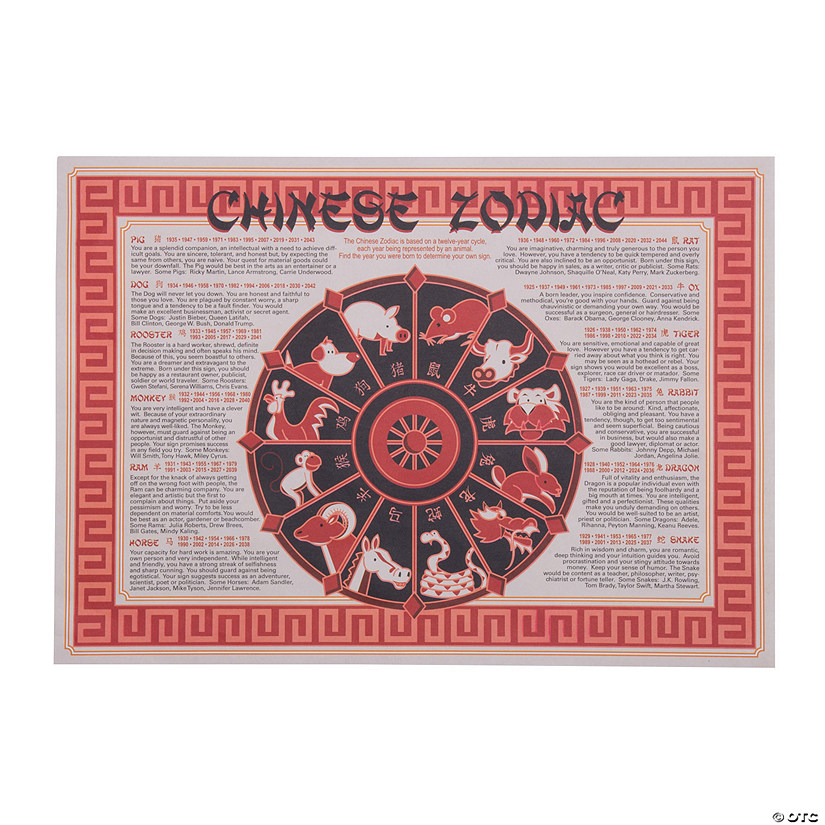 graphic about Printable Chinese Zodiac Placemat titled Chinese Fresh Yr Placemats