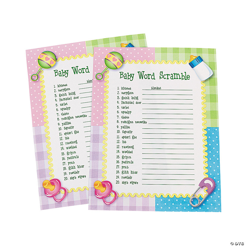 Baby Shower Word Scramble Game