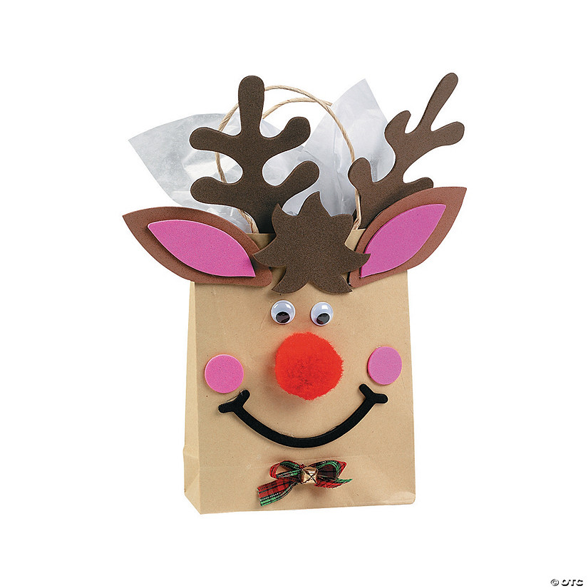 reindeer paper gift bag craft kit