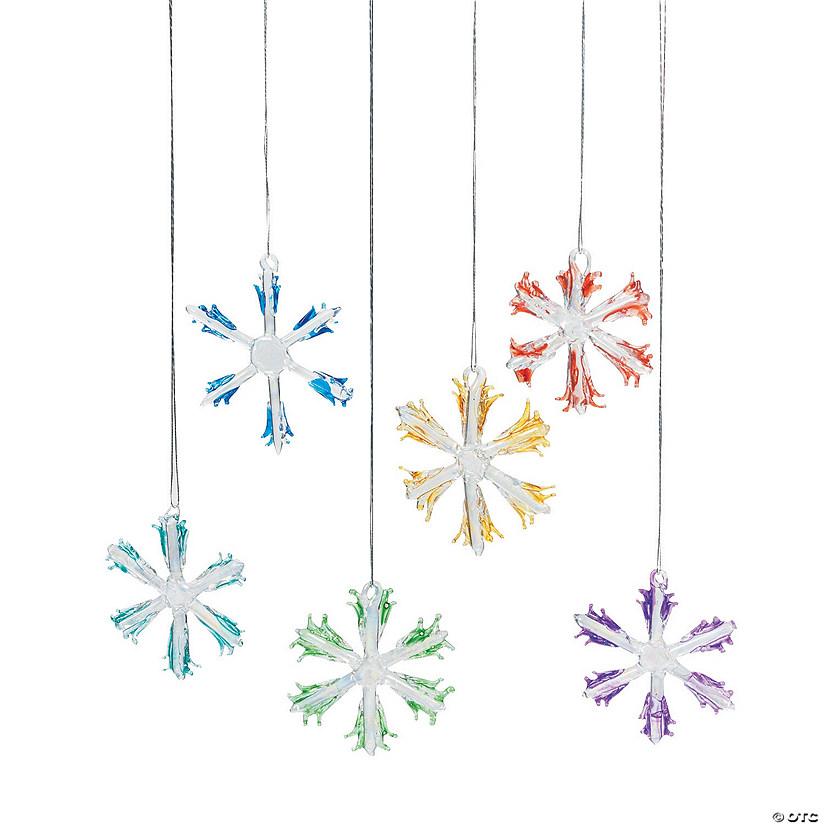 colorful glass snowflake christmas ornaments