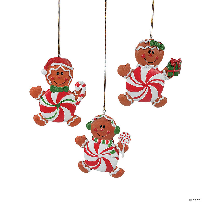 Peppermint Candy Gingerbread Man Christmas Ornaments ...