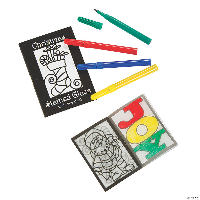 Stained Glass Christmas Coloring Books with Markers ...