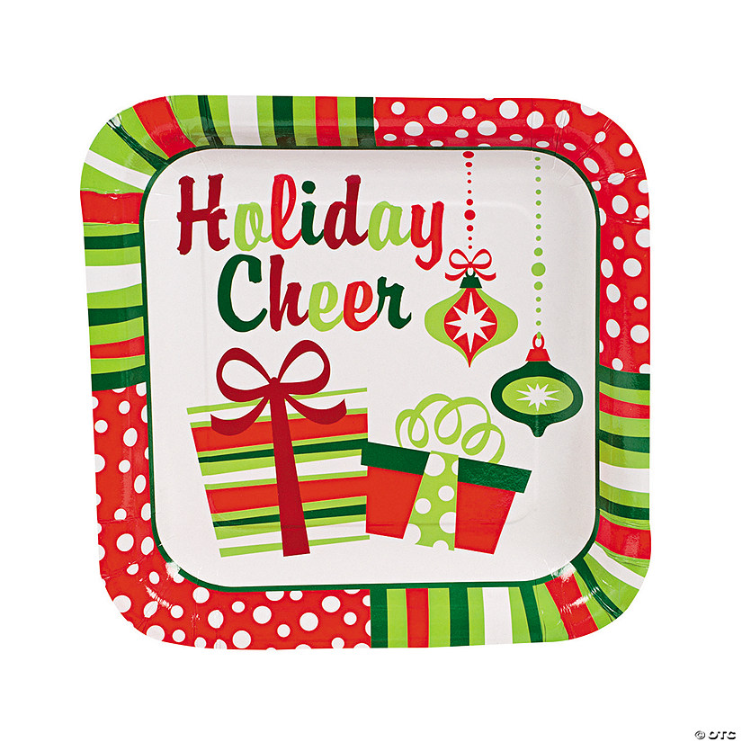 Christmas Paper Plates.Bright Christmas Paper Dinner Plates