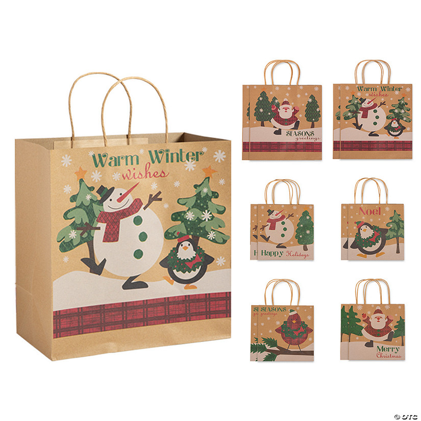 Christmas Gift Bags.Christmas Kraft Paper Gift Bag Assortment