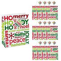 quickview image of large red green gift bags with tags with sku49282