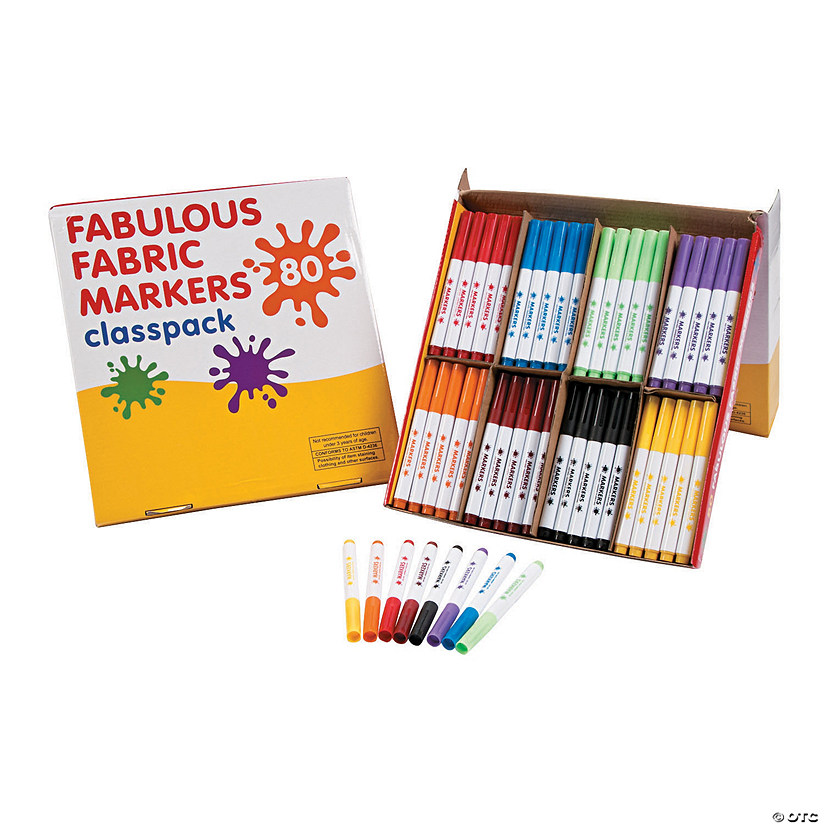 73b2d5f80a0 8-Color Fabulous Fabric Marker Classpack - 80 pc | Oriental Trading
