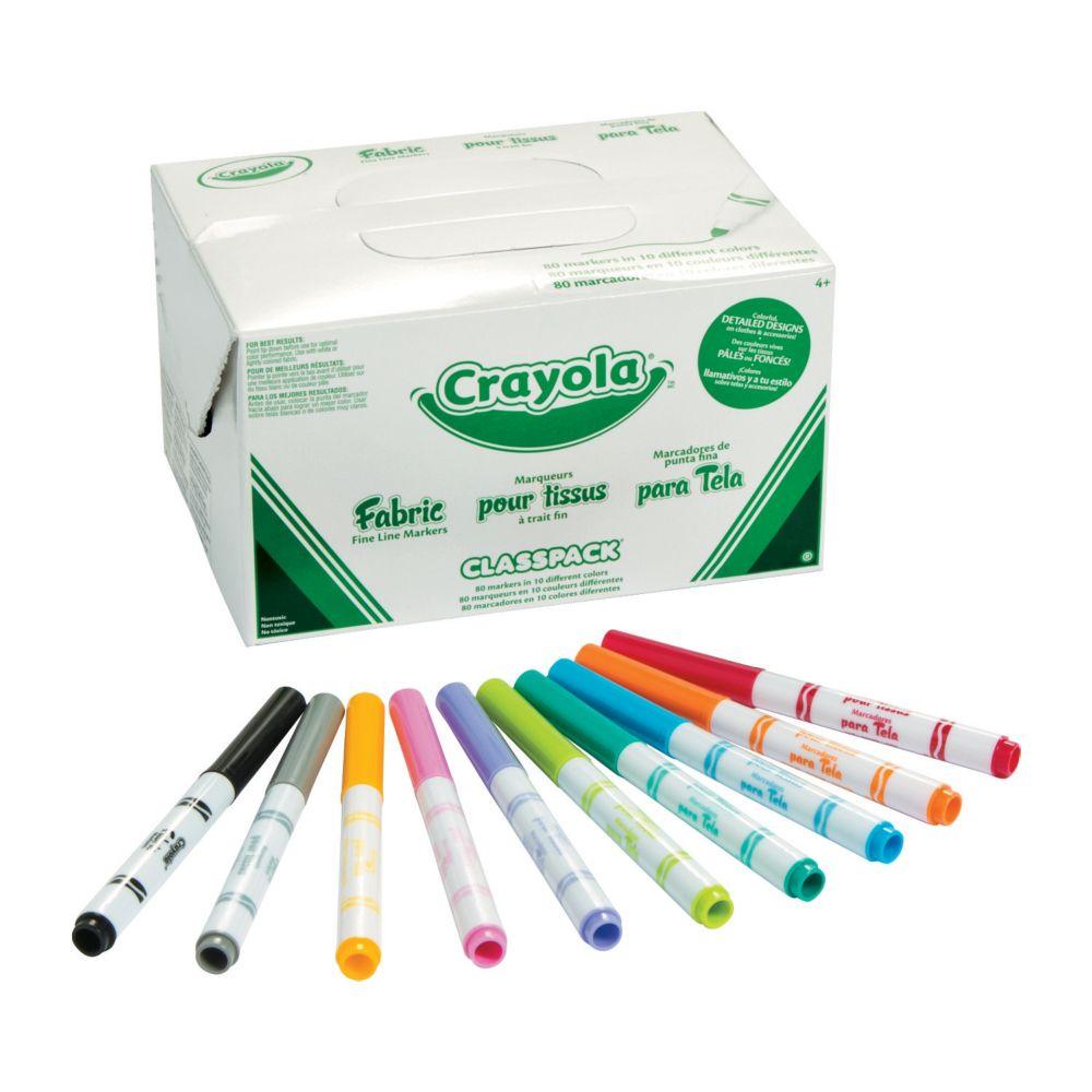 10-Color Crayola® Fabric Marker Classpack - 80 pcs