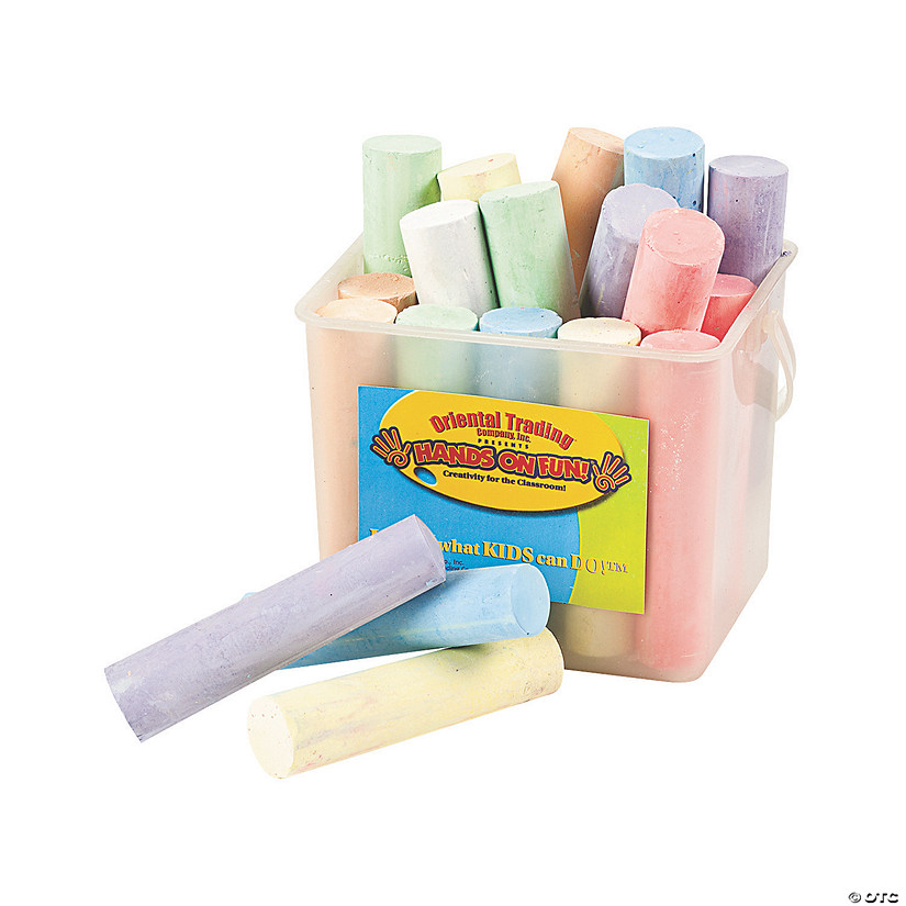 20 Sticks of White Chalk Jumbo Chalk Bucket