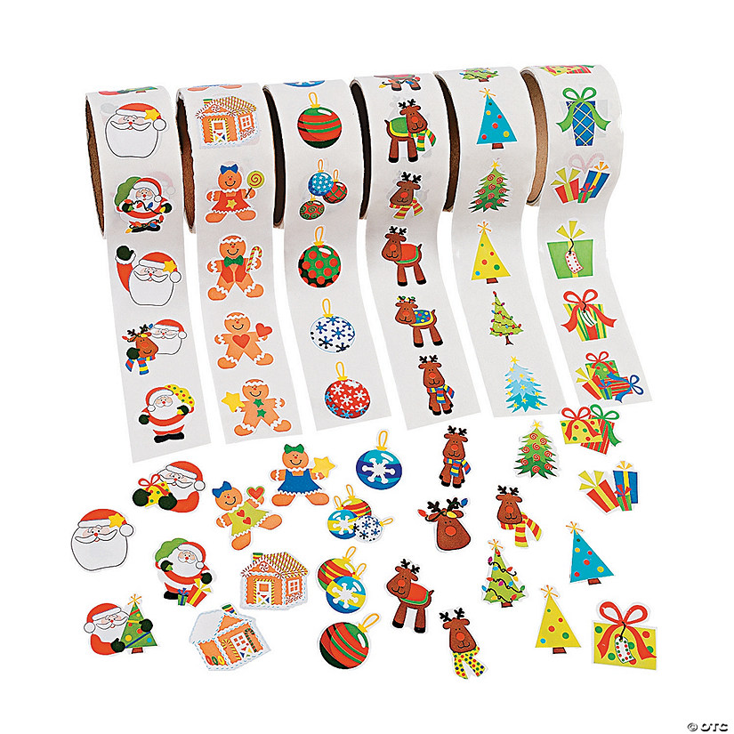 Christmas Stickers.Christmas Rolls Of Stickers Assortment