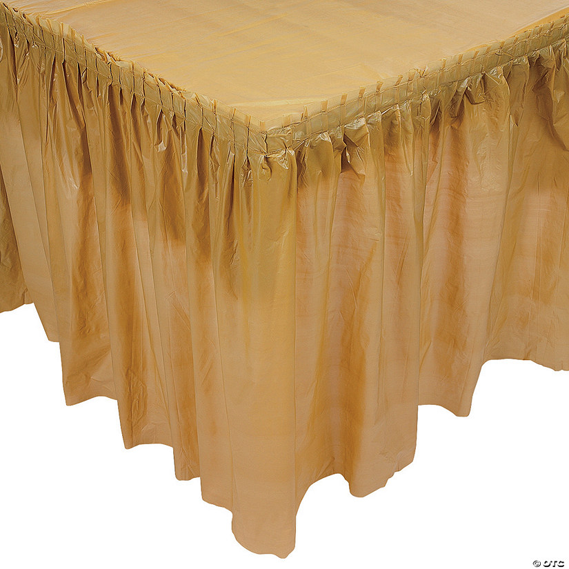 4413d2327 Pleated Gold Table Skirt | Oriental Trading