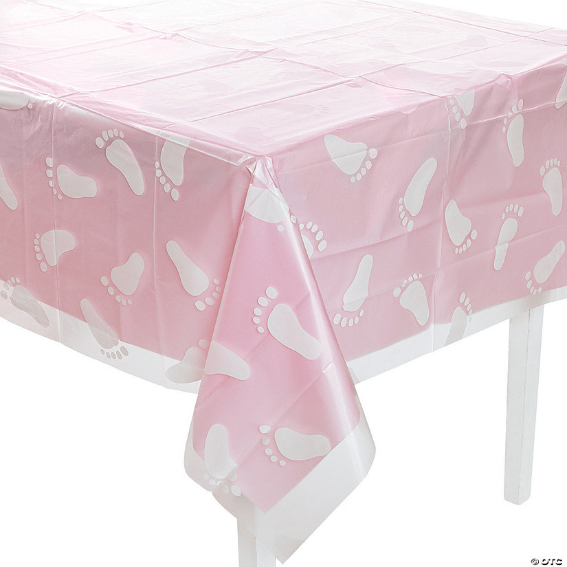 Clear Footprint Baby Shower Plastic Tablecloth Oriental