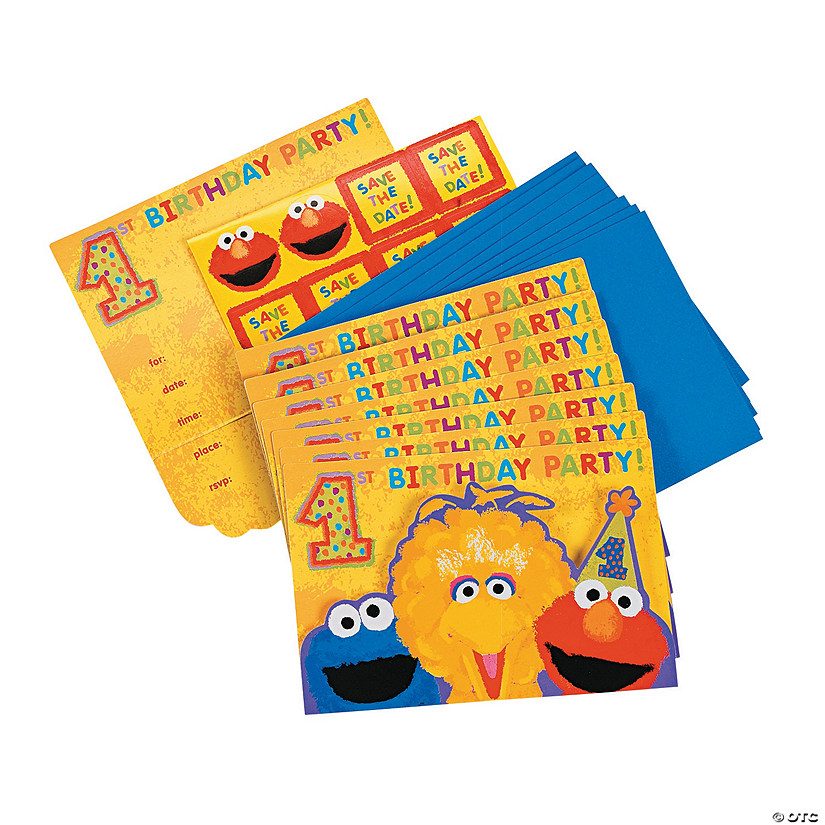 Sesame StreetR 1st Birthday Invitations