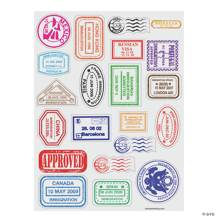 photograph about Printable Passport Stamps for Kids referred to as Pport Stamp Sticker Sheets