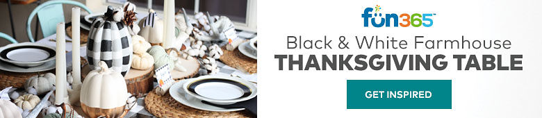 Fun365. Black and white Farmhouse Thanksgiving table. Get Inspired