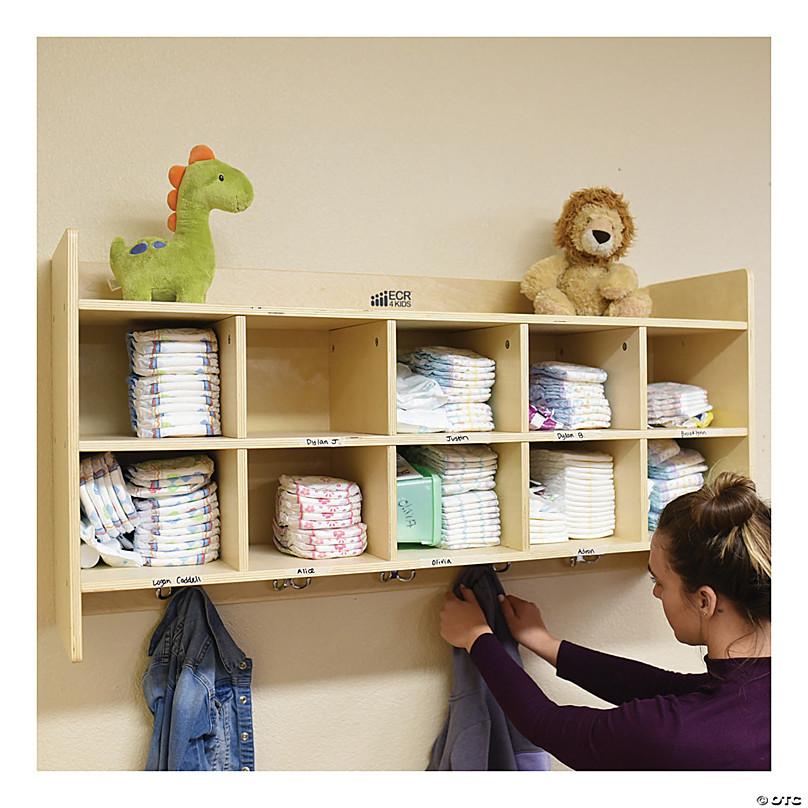 Kids 9 Compartment Storage Cabinet PreSchool Class Room Mobile Block Wood Shelf