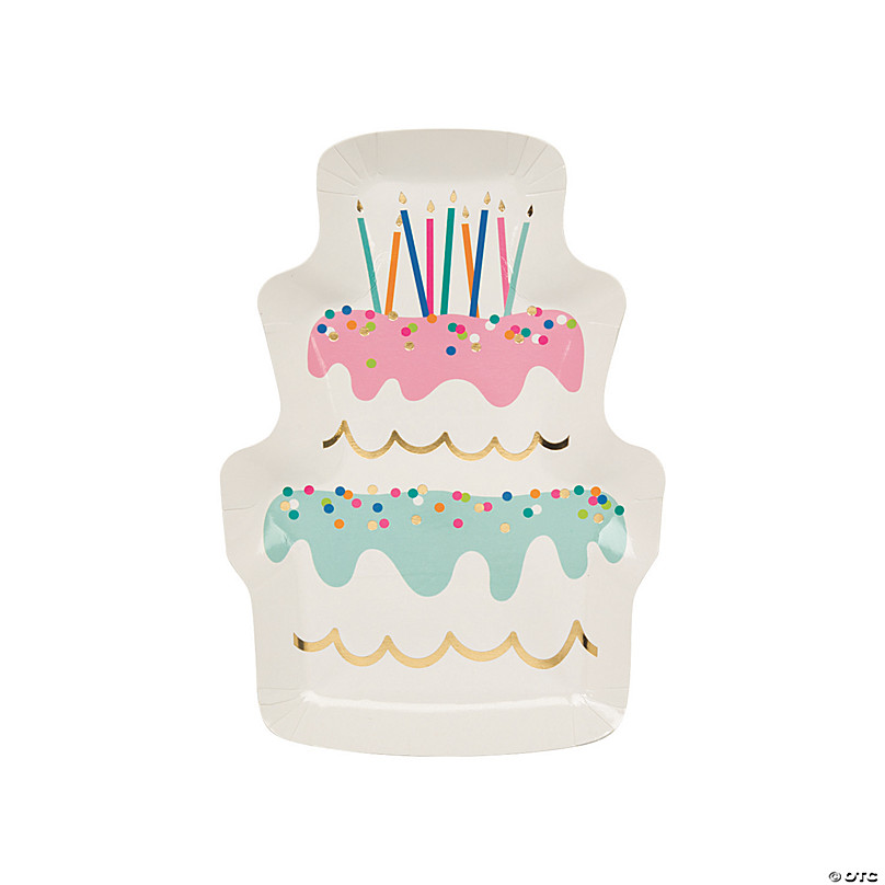 Outstanding Birthday Cake Shaped Paper Dessert Plates 8 Ct Oriental Trading Personalised Birthday Cards Paralily Jamesorg