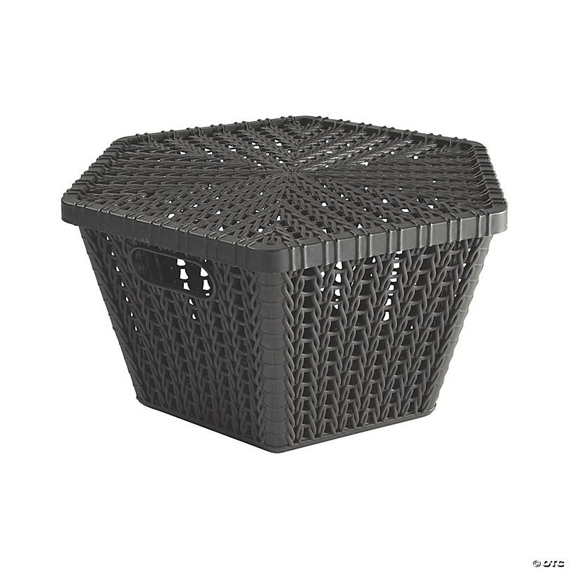 Black Hexagon Woven Storage Baskets