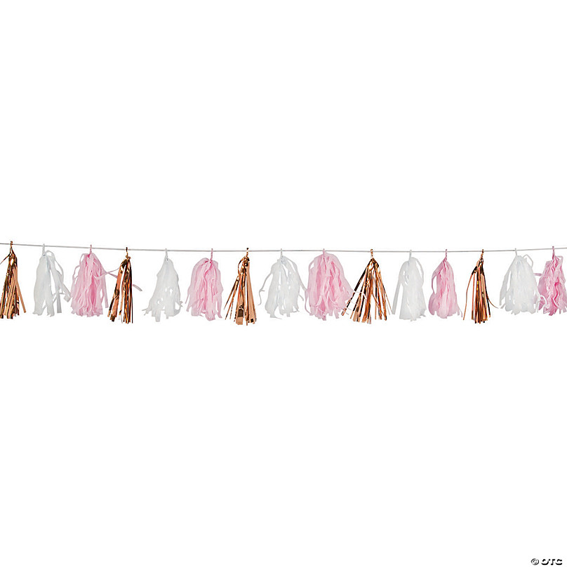 Pink and Gold Garland Pink and Gold Tassle Garland DIY Tassel Garland Kit Pink Tissue Garland EB3086 Pink and Gold Tassel Garland