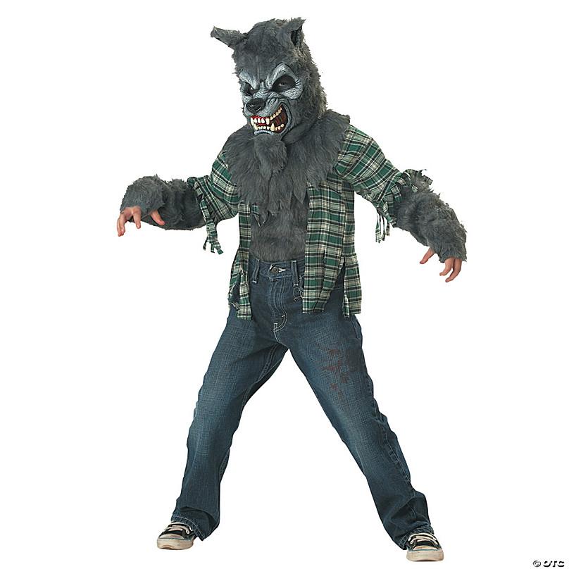 Werewolf Grey Wolf Man Deluxe Horror Halloween Men Costume Ani-Motion Mask