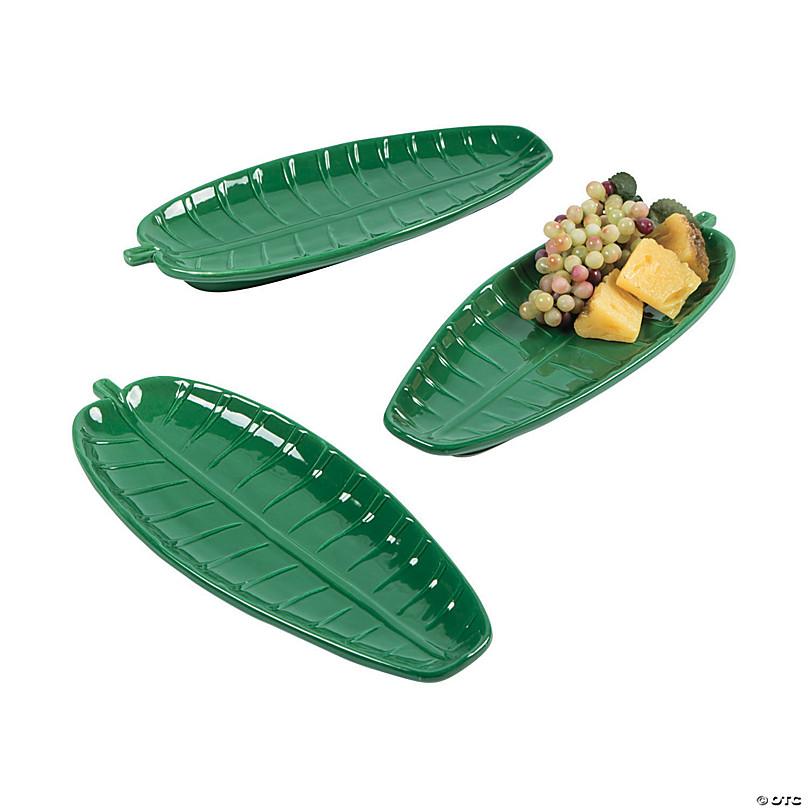 "NEW 1 Dozen 12/"" Plastic Palm Leaf Serving Trays Party"