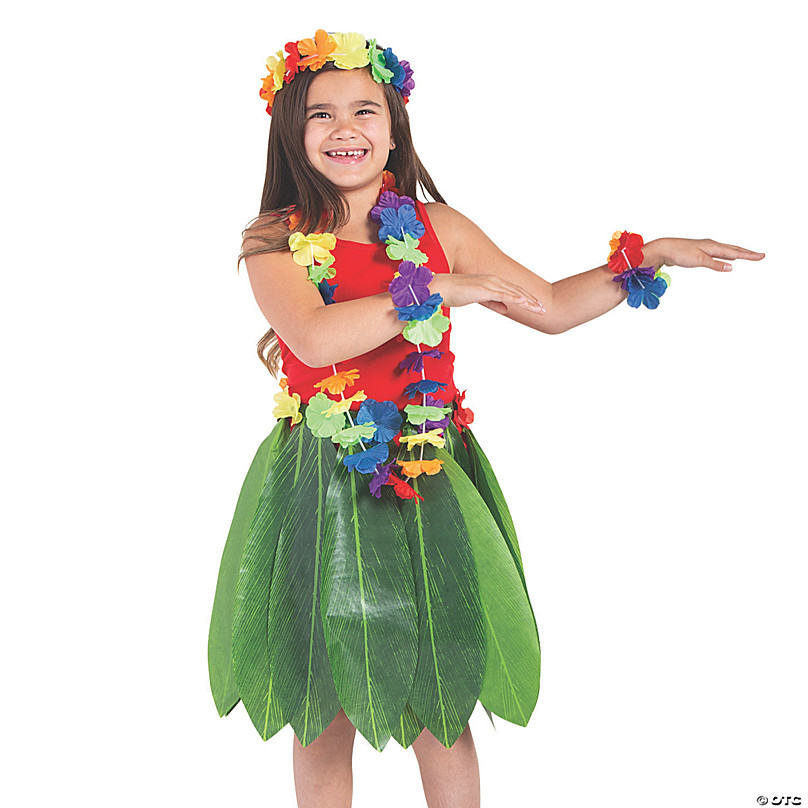 Hawaiian Dance Costume  Kid/'s Hula Skirt /& Lei set Rainbow colours