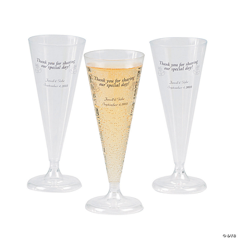 Clear Personalized Champagne Flutes, Glass Champagne Flutes Bulk